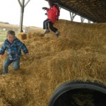 Sam and Lucas bound down the hay mountain!
